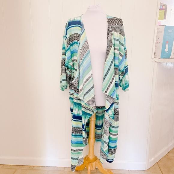 LuLaRoe Shirley - Womens Kimono in Blues & Green